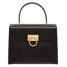 Salvatore Ferragamo Black Saffiano Leather Kelly Satchel Handbag (1,510 CAD) ❤ liked on Polyvore featuring bags, handbags, satchel style purse, salvatore ferragamo bags, salvatore ferragamo, satchel style handbag and saffiano leather satchel