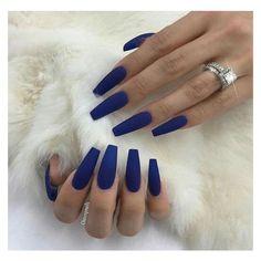 ✨ blue acrylic nails, blue matte nails, navy blue nails, blue c Blue Matte Nails, Navy Blue Nails, Blue Coffin Nails, Blue Acrylic Nails, Matte Nail Polish, Dark Nails, Gel Nail, Trendy Nails, Cute Nails