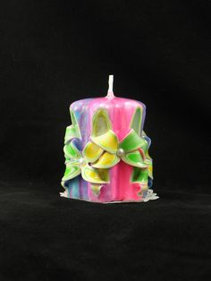 Hand Carved Candle Neon Tie Dye, Bow Carve 4 inch - pinned by pin4etsy.com