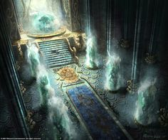 Artwork of an unknown location, by Peter Lee. Suspected to be concept art for a throne room in Skovos, with the ornate Roman style columns and water features. Fantasy City, Fantasy Castle, Fantasy Places, Fantasy Kunst, Fantasy Rpg, Fantasy World, Concept Art Landscape, Fantasy Art Landscapes, Fantasy Concept Art