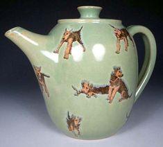 nan hamilton dog art | Airedale Puppy Play Teapot