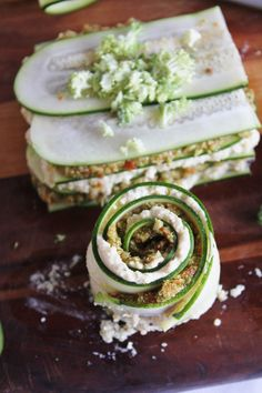 No-bake vegan lasagna using thinly sliced zucchini, sun dried