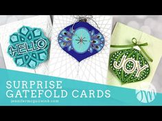 (973) Surprise Gatefold Cards - YouTube Fun Fold Cards, Cool Cards, Folded Cards, Christmas Cards To Make, Diy Christmas, Xmas, Card Making Tutorials, Video Tutorials, Jennifer Mcguire Ink