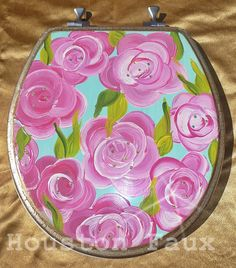 Items similar to Bathroom Decor, Toilet Seats, Home Decor, Lily Pulitzer inspired / Metal hinges hardware ~ Round or Elongated/ MADE to ORDER on Etsy Mackenzie Childs Inspired, Painted Furniture, Lily Pulitzer, Sweet Home, Toilet Seats, Fancy, Powder Room, Handmade Gifts, Bathrooms
