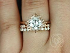 Lily 7mm, Stella, & Pte Naomi 14kt Rose Gold Cushion FB Moissanite and Diamond Kite Halo TRIO Wedding Set (Other metals/stones available)