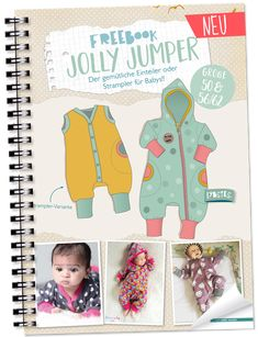 FREEBOOK: Jumpsuit in size 50 and Sewing baby onesie yourself - Lybstes. Free Baby Patterns, Childrens Sewing Patterns, Baby Dress Patterns, Sewing Patterns Free, Sewing Ideas, Baby Overalls, Baby Jumpsuit, Overall Kind, Jumper