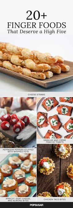 Finger Foods That Deserve a High Five — recipes for cheese straws, rosemary-sesame pecans, Greek salad bites, and many more party starters (Cheese Straws Snacks) Party Finger Foods, Finger Food Appetizers, Snacks Für Party, Party Desserts, Appetizers For Party, Appetizer Recipes, Party Nibbles, Healthy Desserts, Tapas