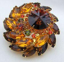 Verified D&E Juliana Orange Amber Topaz Rivoli Rhinestone Layered Brooch Pin