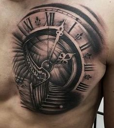 Tatuajes de reloj antiguo Chest Tattoo Time, Time Piece Tattoo, Cool Chest Tattoos, Angel Tattoo Designs, Henna Tattoo Designs, Tattoo Sleeve Designs, Clock Tattoo Design, Tattoo Design Drawings, Chicano Tattoos Sleeve