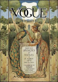 Vogue cover with peacock, 1909