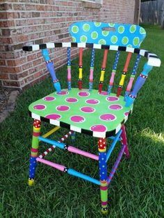 Hand Painted Folk Art Rocking Chair-Whimsical Childs Chair-Gypsy Folk ...