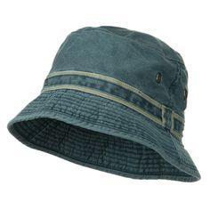 Chino Washed Brushed Cotton Twill Bucket Hat - Blue Khaki