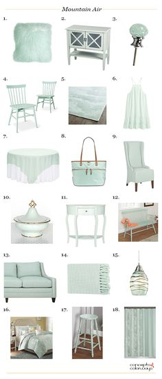sherwin williams mountain air product roundup, mint green, seafoam green, interior styling ideas, interior design ideas