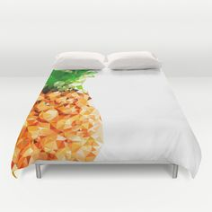 Lee Renee Jewellery* Pineapple Duvet Cover - cover yourself in creativity with our ultra soft microfiber duvet covers. Hand sewn and meticulously crafted, these lightweight duvet covers vividly… Dream Bedroom, Home Bedroom, Bedroom Decor, Bedrooms, Bedroom Ideas, Pineapple Room, Pinapple Room Decor, Pineapple Fruit, Pineapple Design