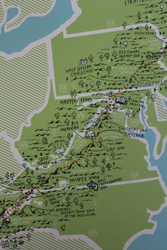 Hand drawn detail with all the memorable stops on the Appalachian Trail, this print is unique and handmade in the USA!