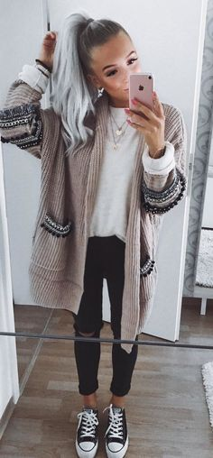 #fall #outfits women's brown and black cardigan and black distressed pants and pair of black sneakers outfit