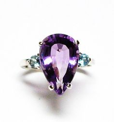 Amethyst amethyst accent ring 3 stone ring by Michaelangelas, $89.99