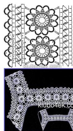 Fabulous Crochet a Little Black Crochet Dress Ideas. Georgeous Crochet a Little Black Crochet Dress Ideas. Col Crochet, Cardigan Au Crochet, Crochet Lace Edging, Crochet Fabric, Crochet Motifs, Crochet Collar, Crochet Borders, Crochet Diagram, Crochet Chart