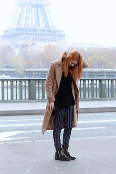 Missguided Camel Coat, Missguided Ribbed Roll Neck, Lola May Clothing Pinstripe Trousers, Zara Patent Pointed Boots