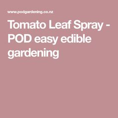 Tomato Leaf Spray - POD easy edible gardening