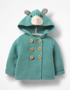 New in : Keep little ones cosy in our cotton-blend hooded jacket. This warm knit is just the thing for layering over T-shirts and leggings on chilly days. Large, wood-effect buttons make for easy dressing. Baby Cardigan, Baby Pullover, Baby Boden, Mini Boden, Toddler Outfits, Baby Boy Outfits, Kids Outfits, Knit Jacket, Hooded Jacket