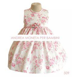 vestido fiesta bebe blanco rosa flores bautismo moneta 509