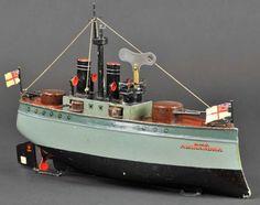 "Märklin Tin-Ships Gun boat ""H.M.S. ALEXANDRA"" clockwork powered, hand painted"