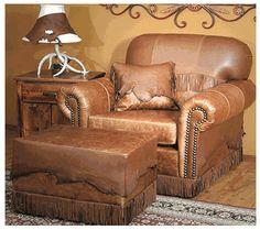 """Deerskin Flap Leather Chair 40"""" wide DesignNashville"""