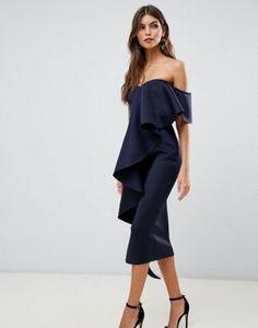 Vestido midi ajustado con diseño palabra de honor y detalle de volante en  azul marino de True Violet ba12e07704dd