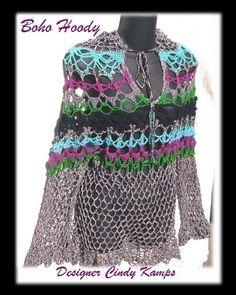 BOHO TUNIC Hoody Crochet Pattern by crochetbayboutique on Etsy