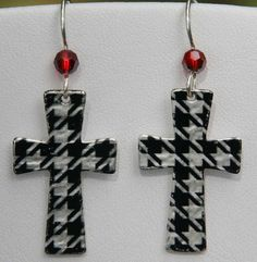 Alabama  Houndstooth Cross Earring with by PSJewelryDesigns, $15.00