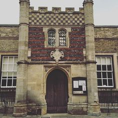 The Guildhall, I love the mixture of brick, stone and flint and look at the door! #doorlove #burystedmunds #England #UK #safinteriors