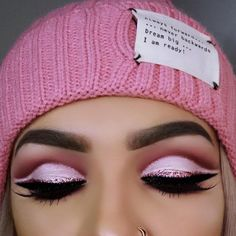 Pink, glitter, cut crease eye makeup