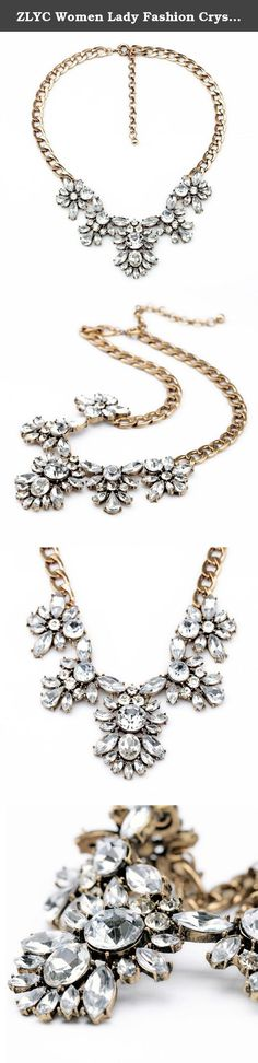 ZLYC Women Lady Fashion Crystal Leaves Rhinestone Statement Bib Necklace. Material: alloy, rhinestone Color: white Size: length 19inches / 48cm with extender 3.3inches / 8.5cm, pendant size 1.8 X 1.4inches / 5.3 X 3.3cm Season: all season Weight: 53g/0.12Ib Style: fashion style, lady style Fashion Elements: sea star, coral, statement necklace Package Content: 1 x Necklace Gold-plated chain necklace. Charming leaf shape pendant with crystal accents. This lovely necklace is perfect for many...
