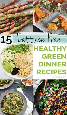 15 lettuce-free healthy green recipes for lunch and/or dinner via @ExSloth   ExSloth.com