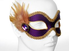 Deep Purple And Gold Masquerade Mask Venetian Style by SOFFITTA