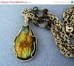 THANKSGIVING SALE Wire wrap pendant handmade - Labradorite, natural stone pendant necklace, wire wrapped jewelry, chainmaille necklace, gyps