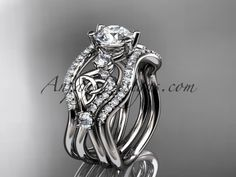 platinum celtic trinity knot engagement ring, wedding ring with double matching band CT768S