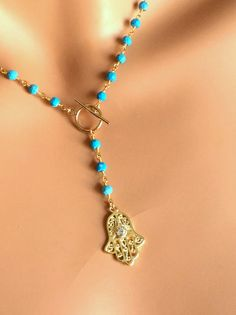 Gold Filled Hamsa Turquoise Gemstones Rosary by divinitycollection