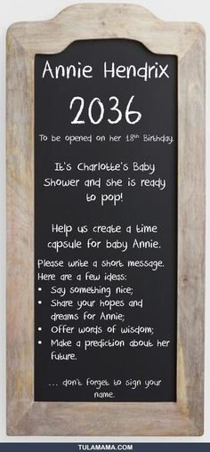 Make a baby time capsule at a baby shower - Easy baby shower activity. Baby Shower Activities, Baby Shower Games, Baby Showers, Baby Time Capsule, Charlotte Baby, Say Something Nice, Simple Baby Shower, Ready To Pop, Shower Time