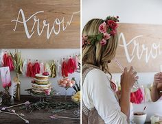 A wooden sign with hand-painted calligraphy 'Arrow' served as favorite focal points by guests and a great new addition to the baby's nursery
