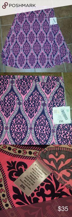 Nwt 2x Lularoe Azure skirt New with tags 2x Lularoe Azure skirt.  Bright pink, white and navy colored. LuLaRoe Skirts Midi