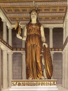Lost Treasure : Athena Parthenos chryselephantine statue by Pheidias, Parthenon Athens The sculptor Greek Gods And Goddesses, Greek Mythology, Roman Mythology, Greek History, Art History, Ancient Rome, Ancient Greece, Parthenon Athens, Greek Antiquity