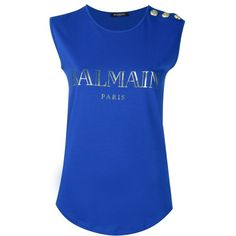 Balmain logo T-shirt ($260) ❤ liked on Polyvore featuring tops, t-shirts, tees, blue, round neck t shirt, logo tops, sleeveless tops, blue t shirt and balmain