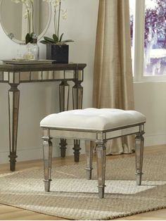 Claudia Mirrored Vanity Stool by Glam Furniture $409