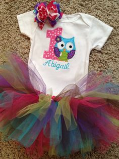 1st birthday owl onesie with name colorful by sewsosweetdesigns, $38.00