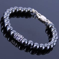 Handmade Men Women Gemstone Bracelet Hematite 925 Sterling Silver Celtic Chrome Heart Style Bead Clasp DiyNotion BR314