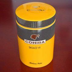 COHIBA Gadget Classic Yellow Cylindrical SIGLO VI Humidor Pots, Cigar Tube, Cave, Safe Shop, Cuban Cigars, Cat Shirts, Porcelain Ceramics, Mini, Household