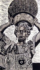 Fuentes (American, b. Linocut, 18 x 12 in. Linocut Prints, Art Prints, Block Prints, Gravure Illustration, Scratchboard, Wood Engraving, Woodblock Print, African Art, Printmaking