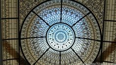 stained and leaded glass dome with colored crystal jewels